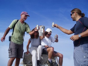 Nov 1: A celebratory drink at the summit on yesterday's hike