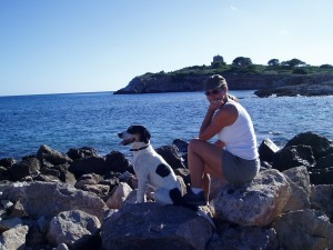Nov 14: Cobo and I sitting on the point in Illetes.