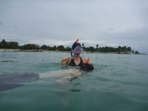 Dec 21: Coaxing James into snorkeling.