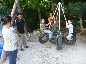 Jan 5: The new playground equipment at the biblioteca is a hit.