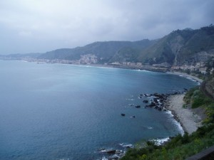 April 17: At the foot of Taormina looking back across Giardini Bay